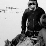 Lesley Thomas dog sledding as a child